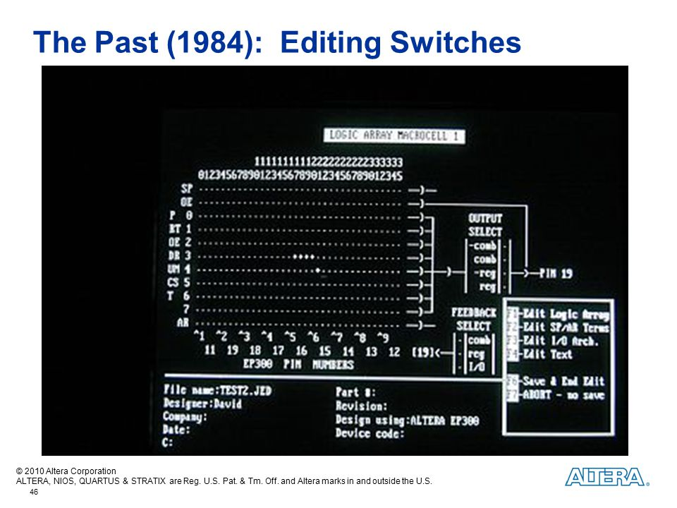 The Past (1984): Editing Switches