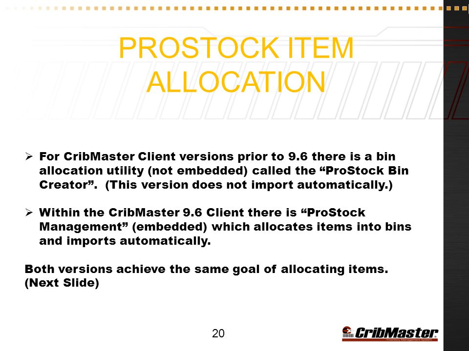 Prostock item allocation