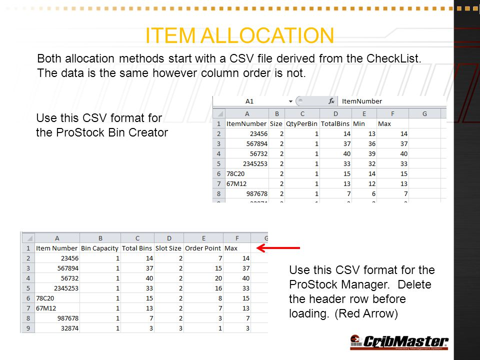 Item allocation Both allocation methods start with a CSV file derived from the CheckList. The data is the same however column order is not.