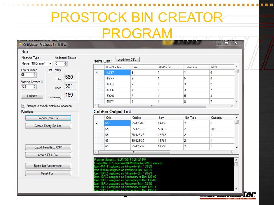 ProStock Bin Creator Program