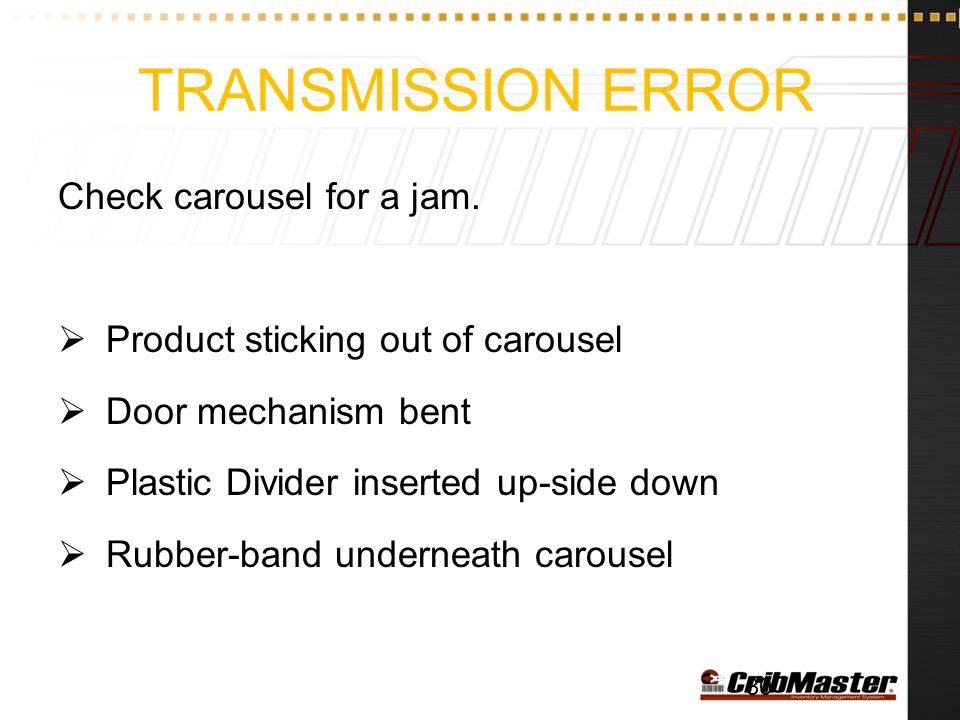 Transmission Error Check carousel for a jam.