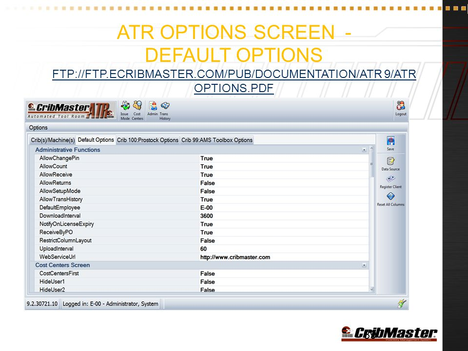 ATR Options Screen - Default Options ftp://ftp. ecribmaster