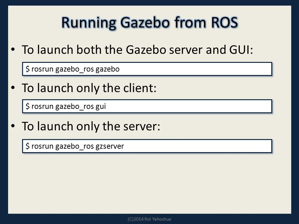 Running Gazebo from ROS