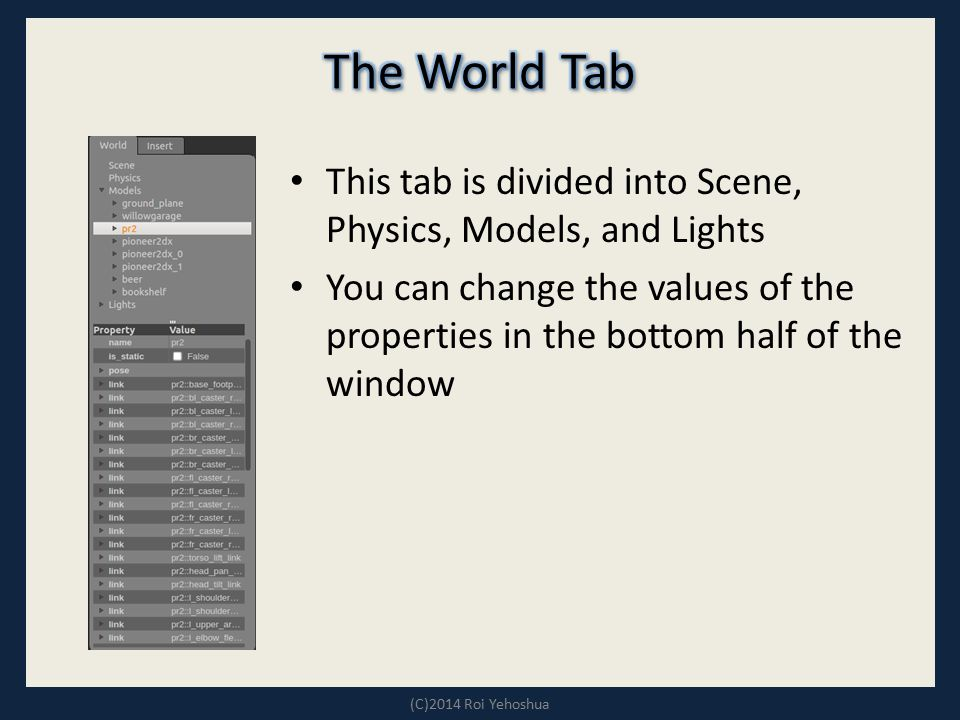 The World Tab This tab is divided into Scene, Physics, Models, and Lights.