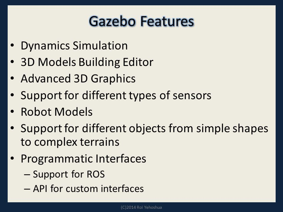 Gazebo Features Dynamics Simulation 3D Models Building Editor