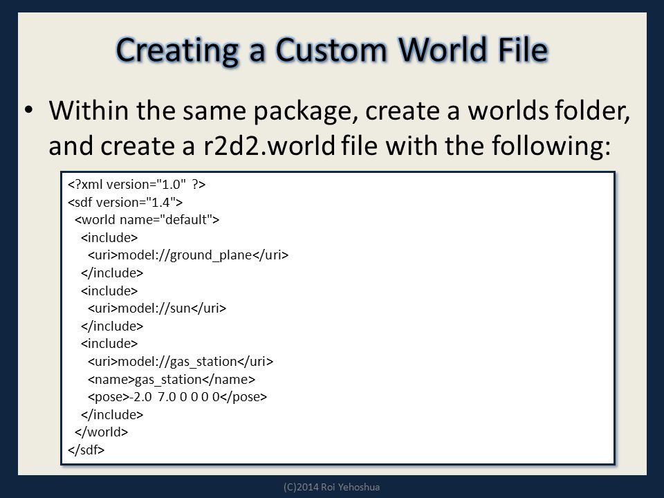 Creating a Custom World File