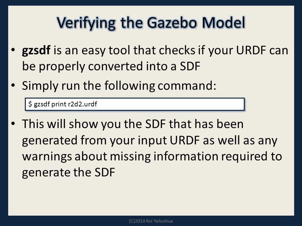 Verifying the Gazebo Model