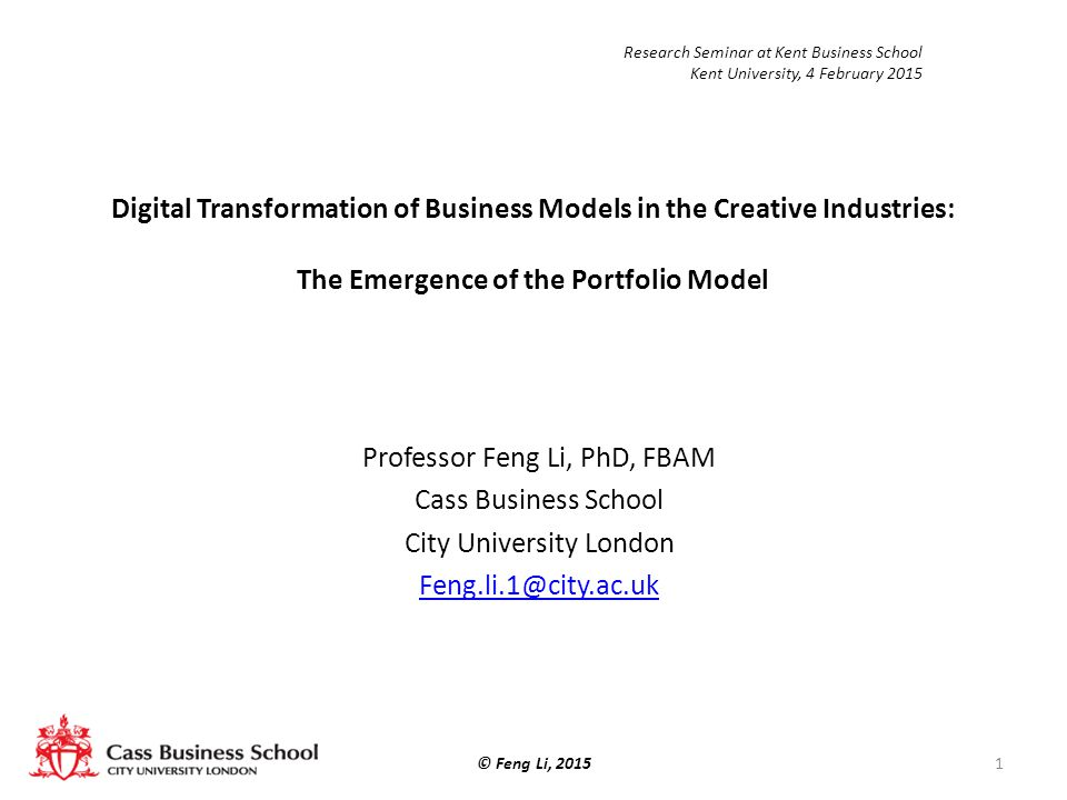 Professor Feng Li, PhD, FBAM Cass Business School