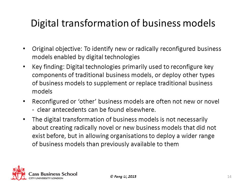 Digital transformation of business models