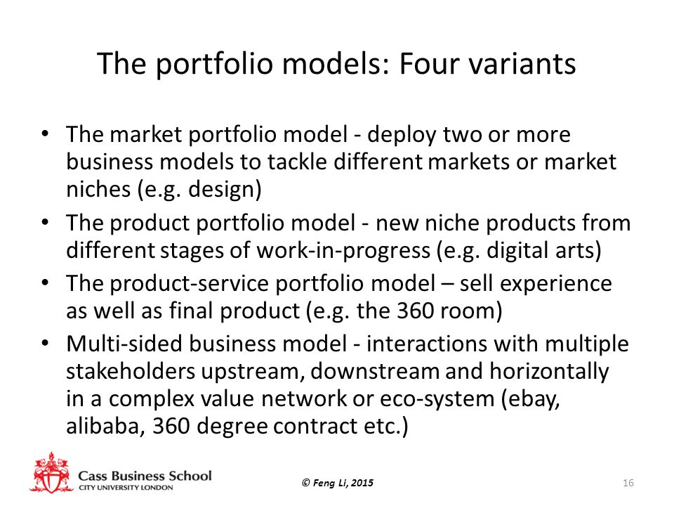 The portfolio models: Four variants