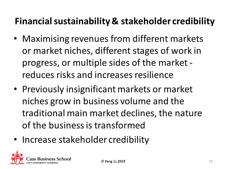 Financial sustainability & stakeholder credibility