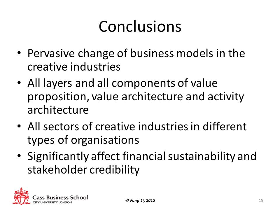 Conclusions Pervasive change of business models in the creative industries.