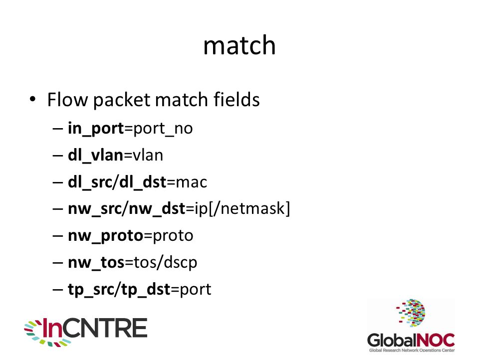 match Flow packet match fields in_port=port_no dl_vlan=vlan