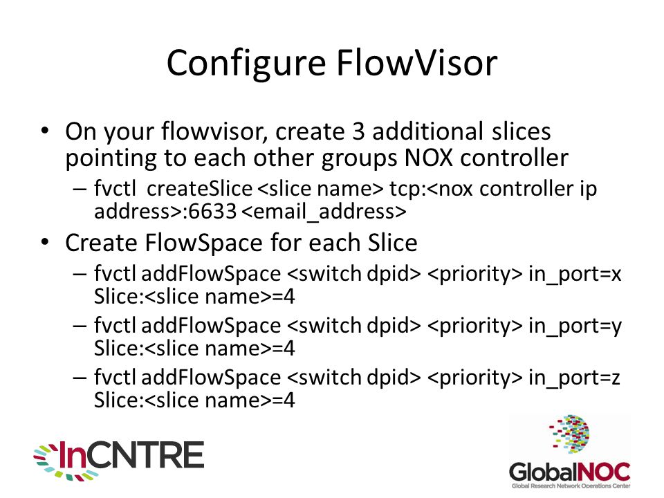 Configure FlowVisor On your flowvisor, create 3 additional slices pointing to each other groups NOX controller.