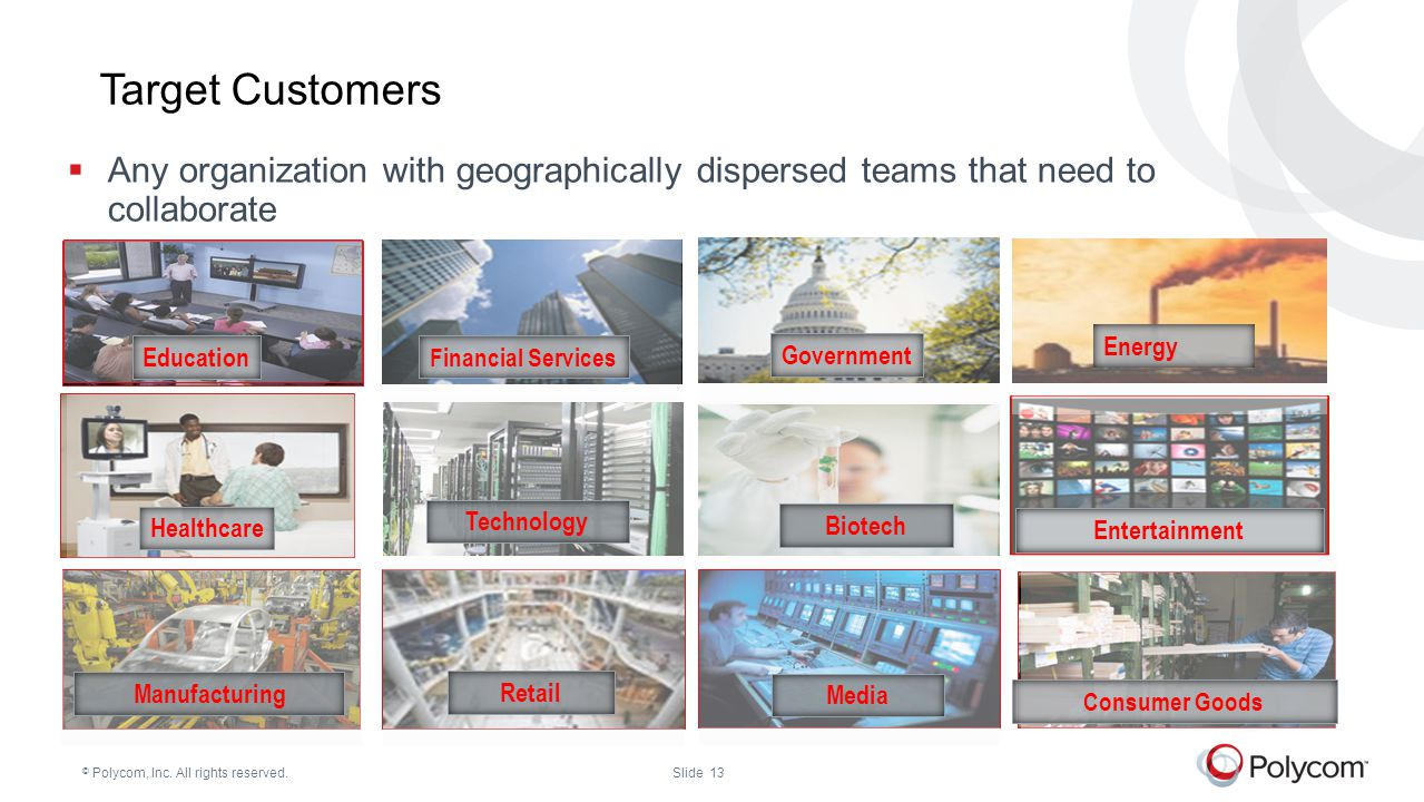 Target Customers Any organization with geographically dispersed teams that need to collaborate. Energy.