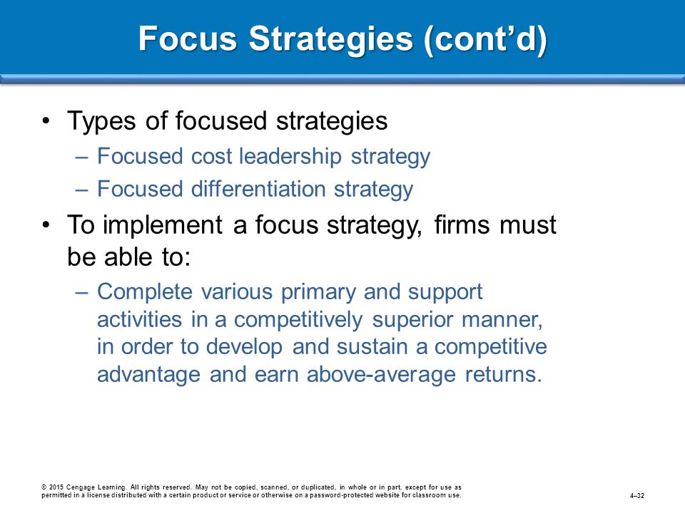 Focus Strategies (cont'd)