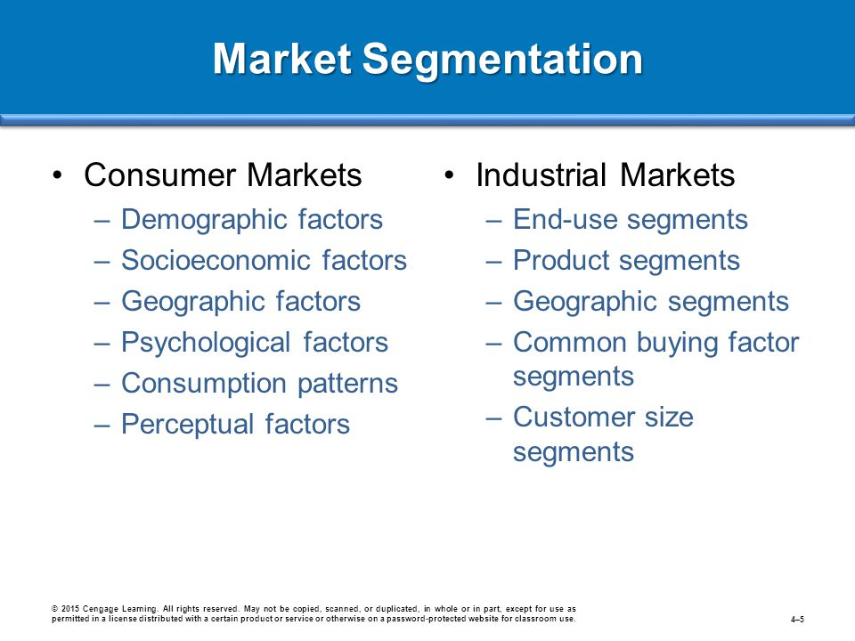 Market Segmentation Consumer Markets Industrial Markets
