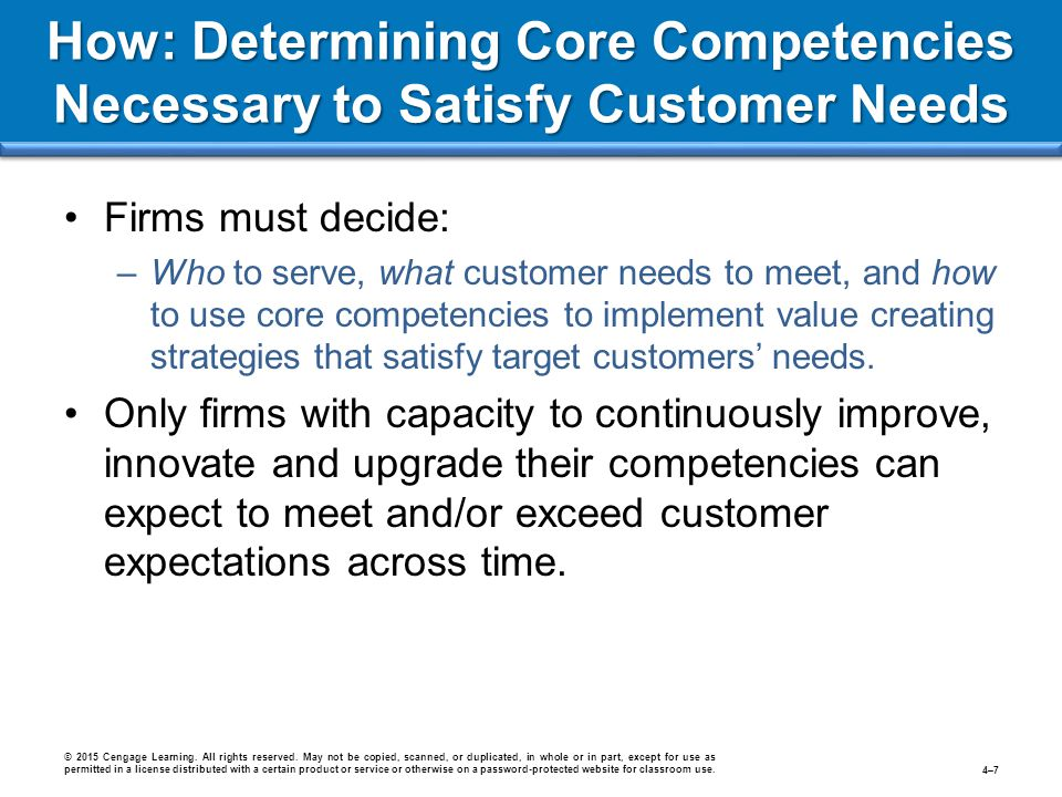 How: Determining Core Competencies Necessary to Satisfy Customer Needs