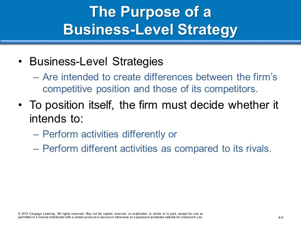The Purpose of a Business-Level Strategy