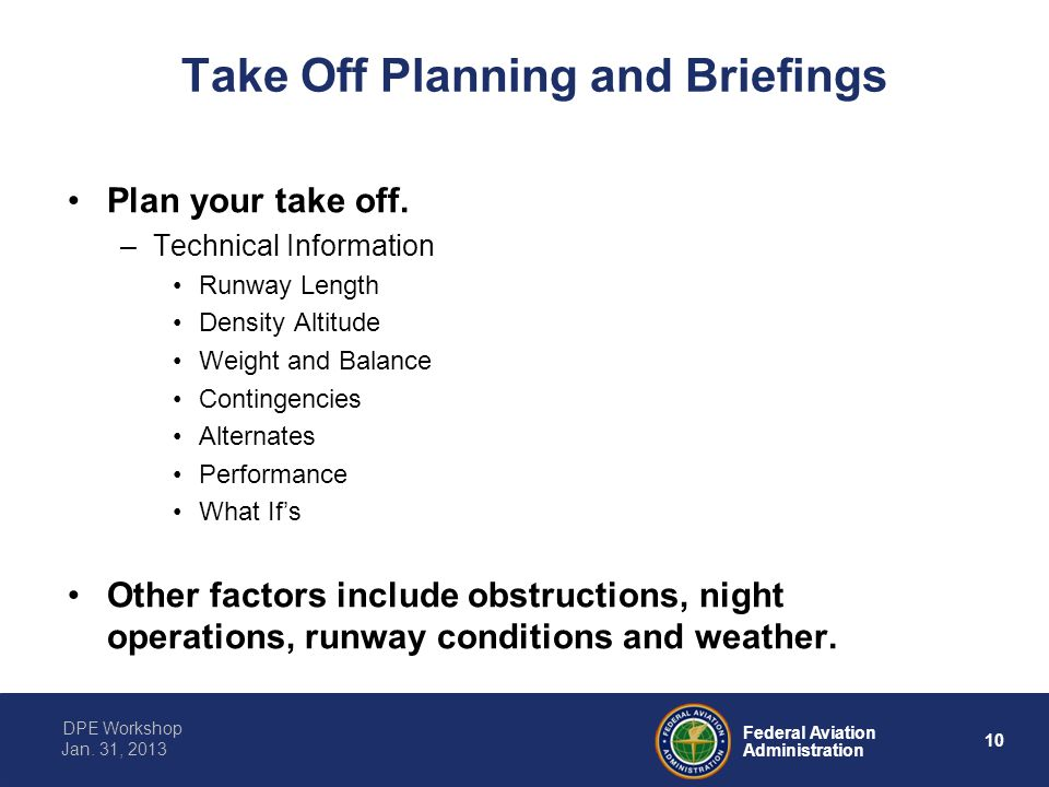 Take Off Planning and Briefings