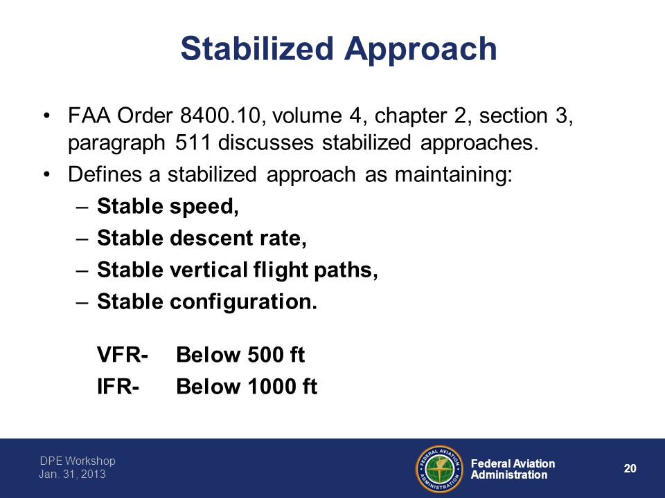 Stabilized Approach FAA Order 8400.10, volume 4, chapter 2, section 3, paragraph 511 discusses stabilized approaches.