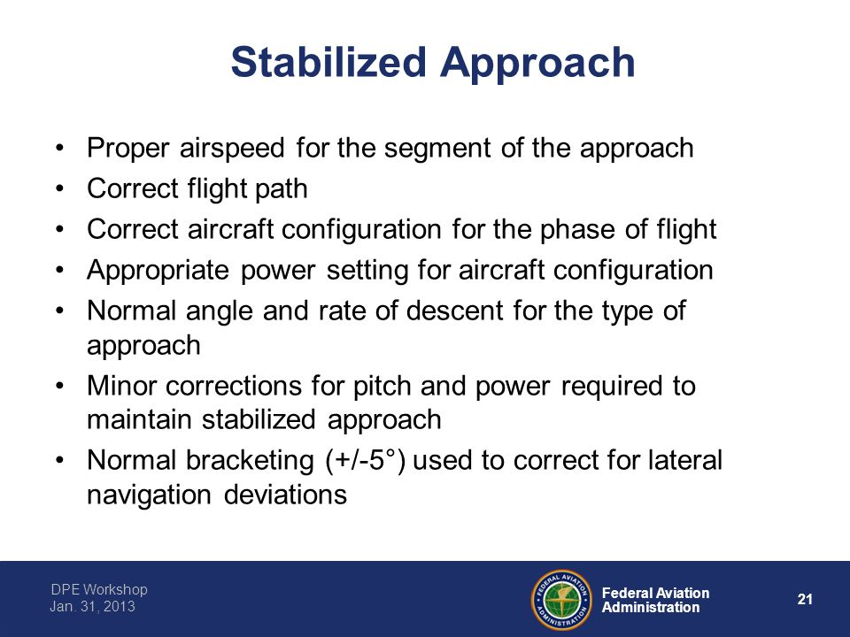 Stabilized Approach Proper airspeed for the segment of the approach