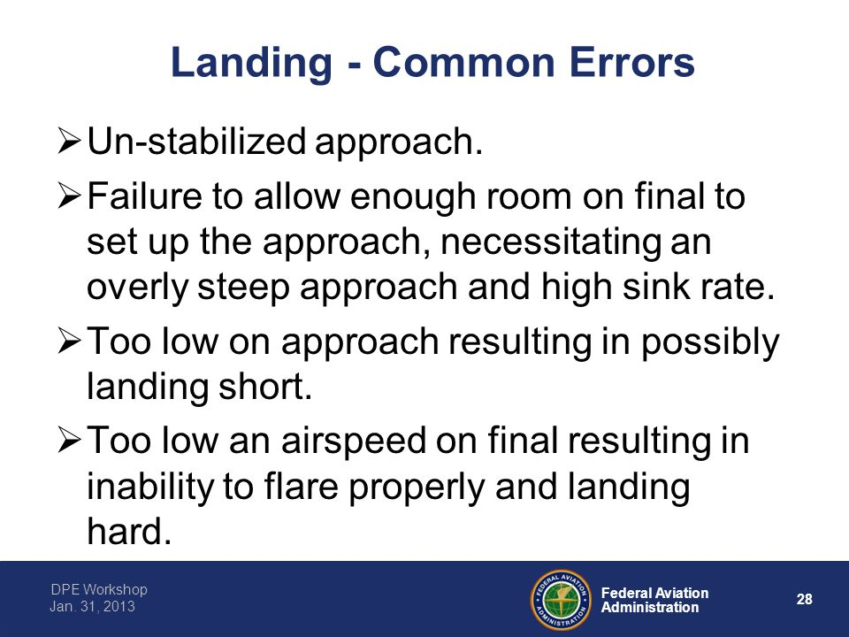 Landing - Common Errors