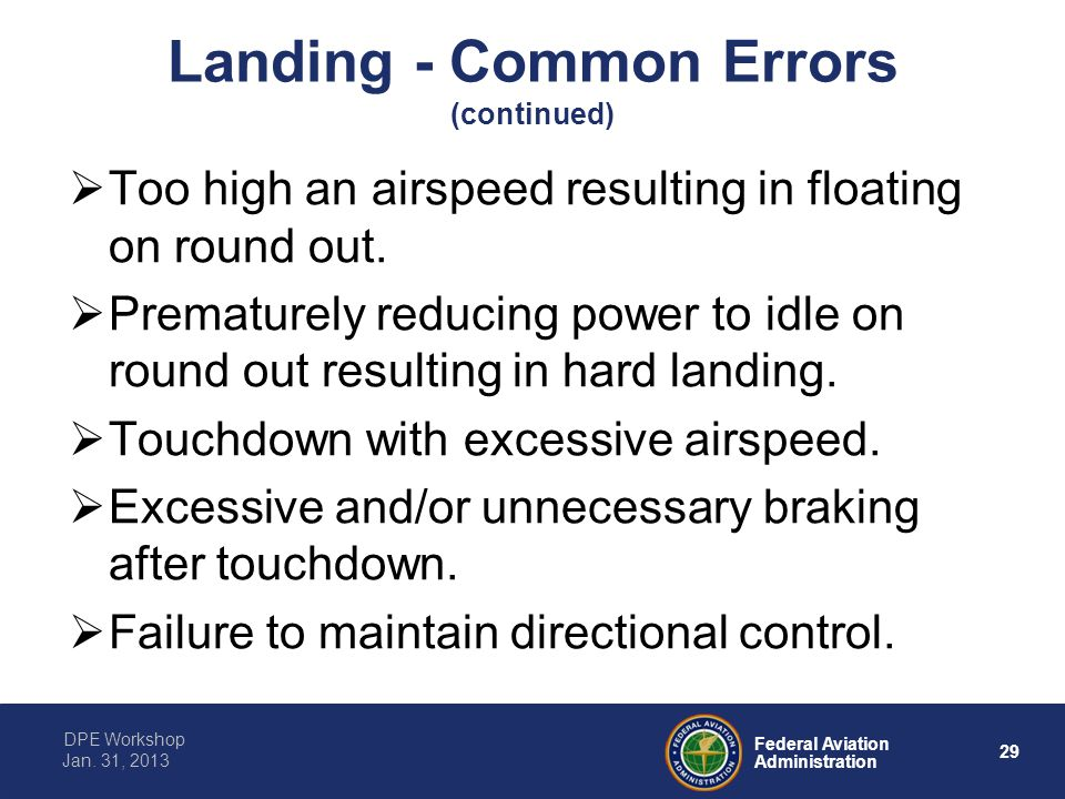 Landing - Common Errors (continued)