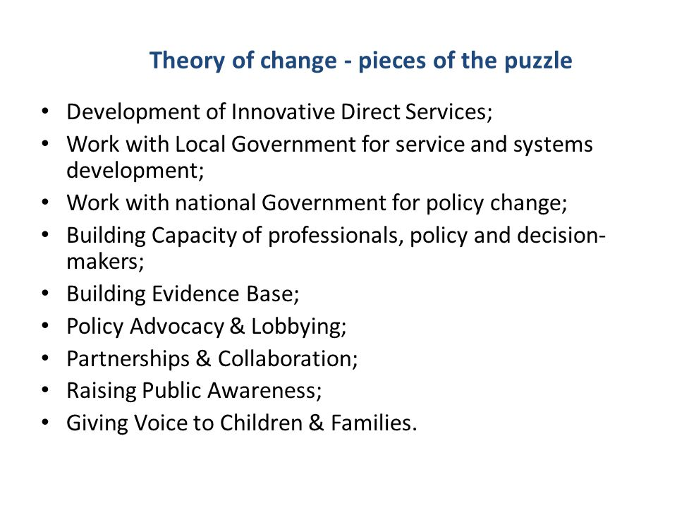 Theory of change - pieces of the puzzle