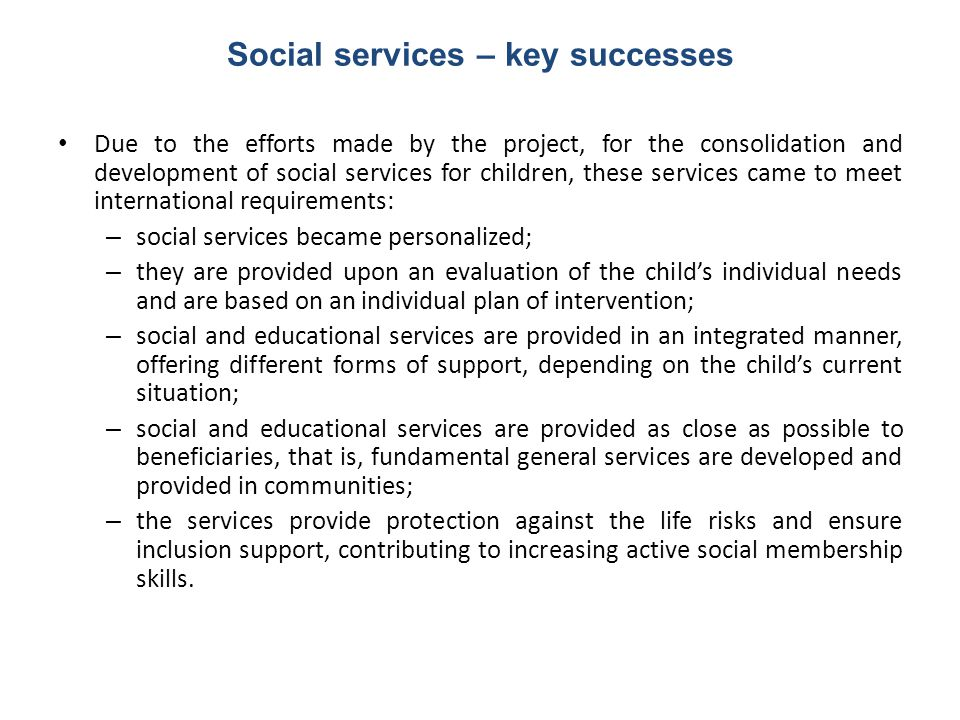Social services – key successes