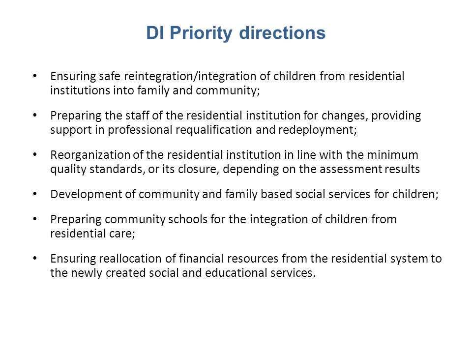 DI Priority directions