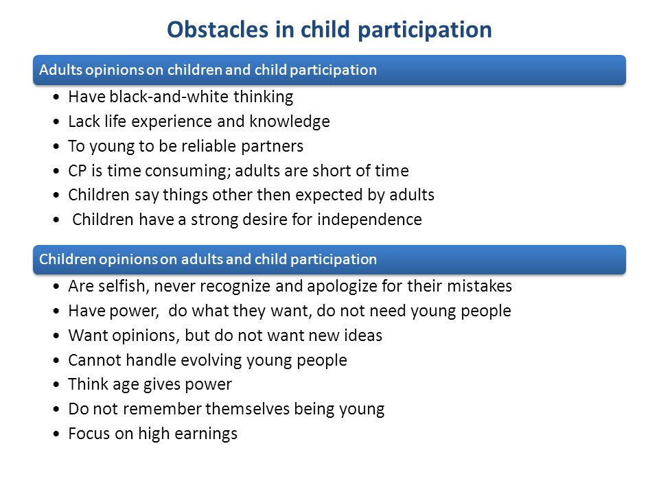 Obstacles in child participation