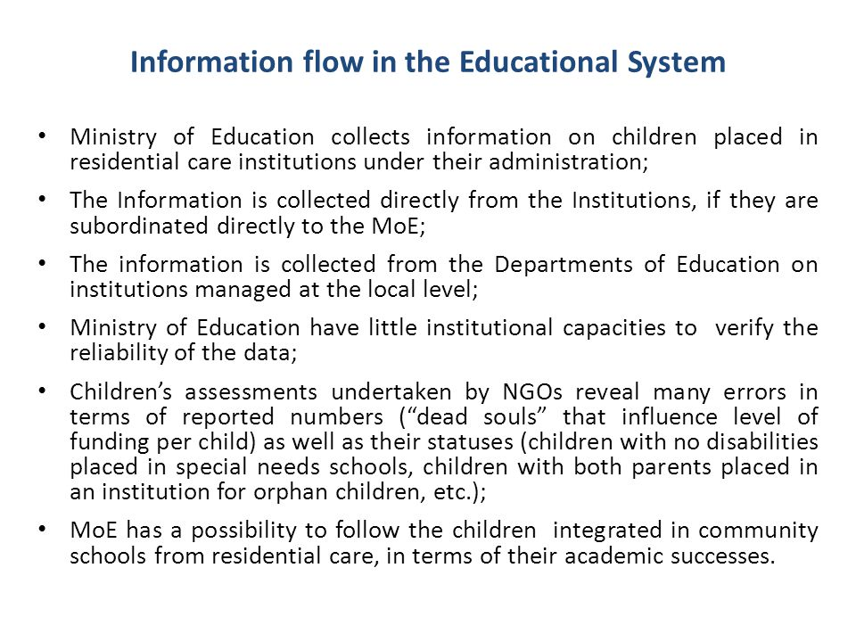 Information flow in the Educational System