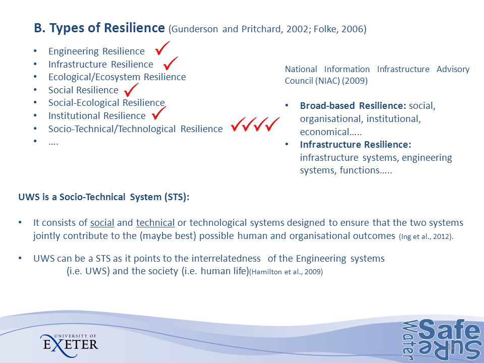 B. Types of Resilience (Gunderson and Pritchard, 2002; Folke, 2006)