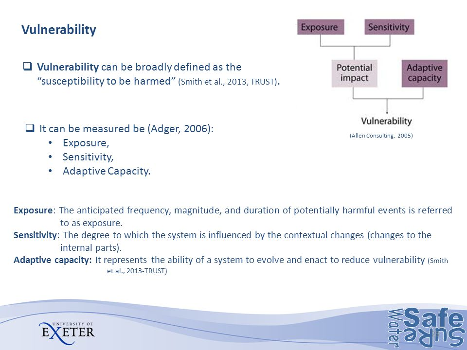 Vulnerability Vulnerability can be broadly defined as the susceptibility to be harmed (Smith et al., 2013, TRUST).