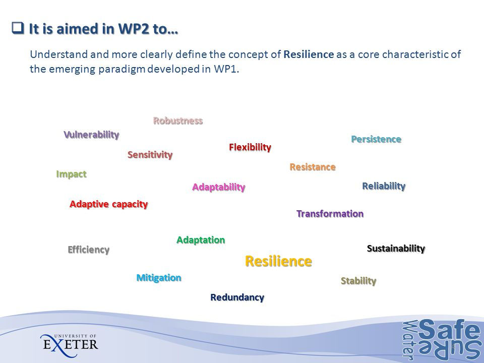 It is aimed in WP2 to… Resilience