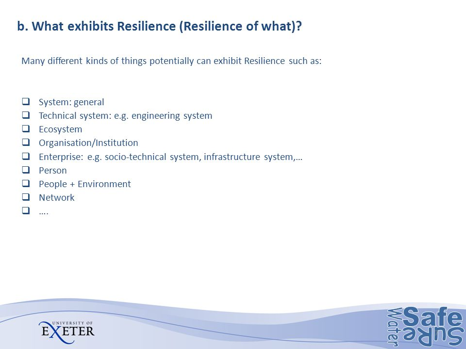 b. What exhibits Resilience (Resilience of what)