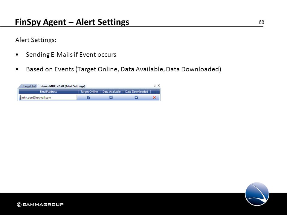 FinSpy Agent – Alert Settings