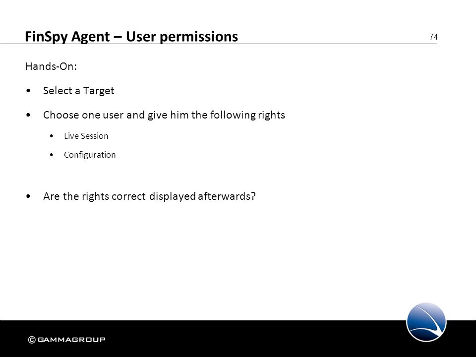FinSpy Agent – User permissions