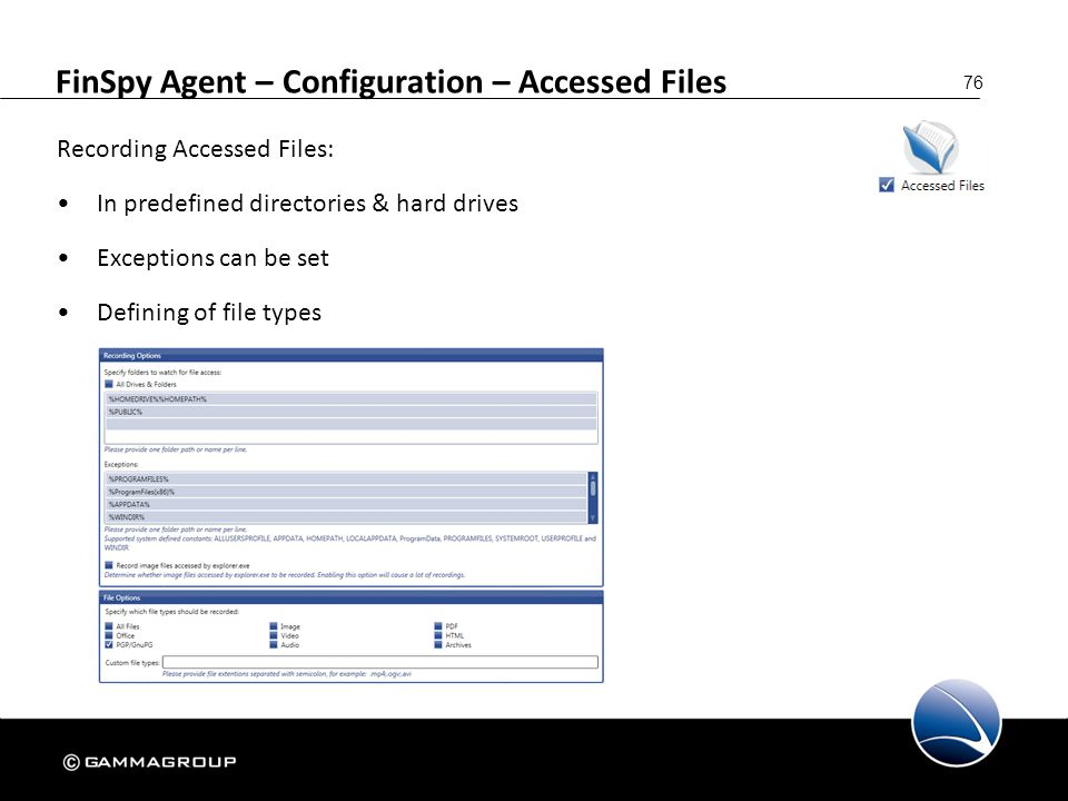 FinSpy Agent – Configuration – Accessed Files