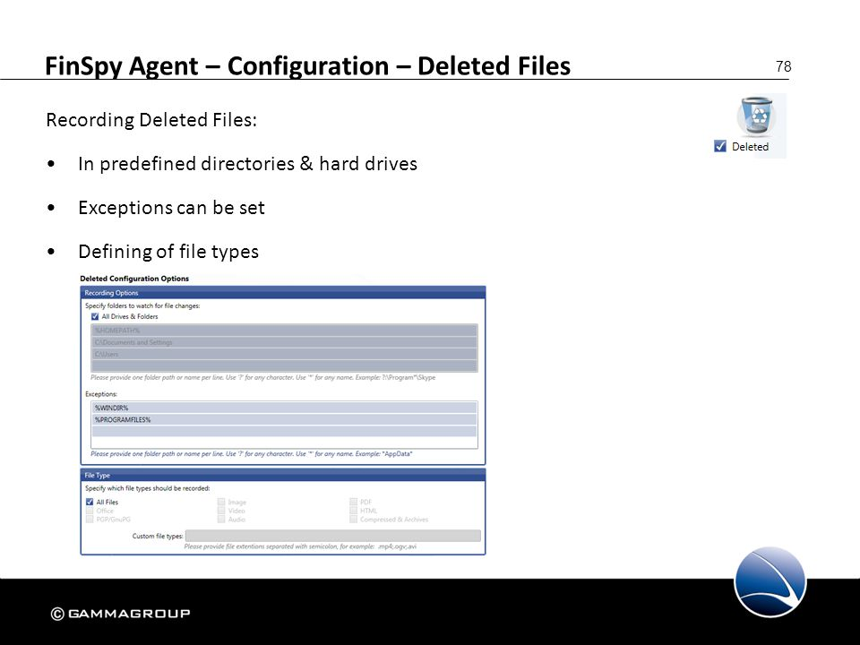 FinSpy Agent – Configuration – Deleted Files
