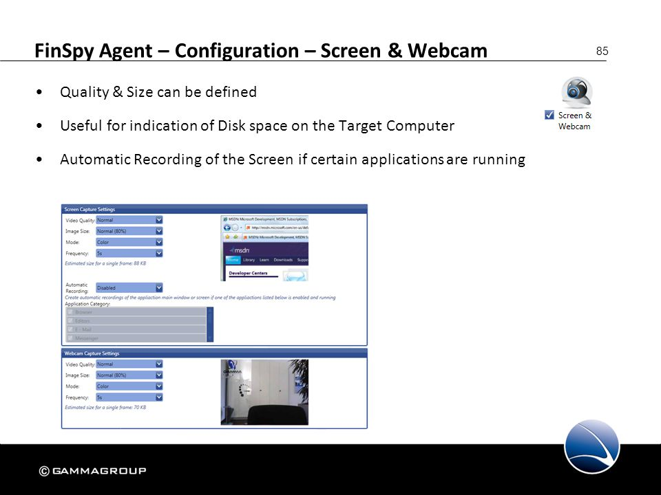 FinSpy Agent – Configuration – Screen & Webcam