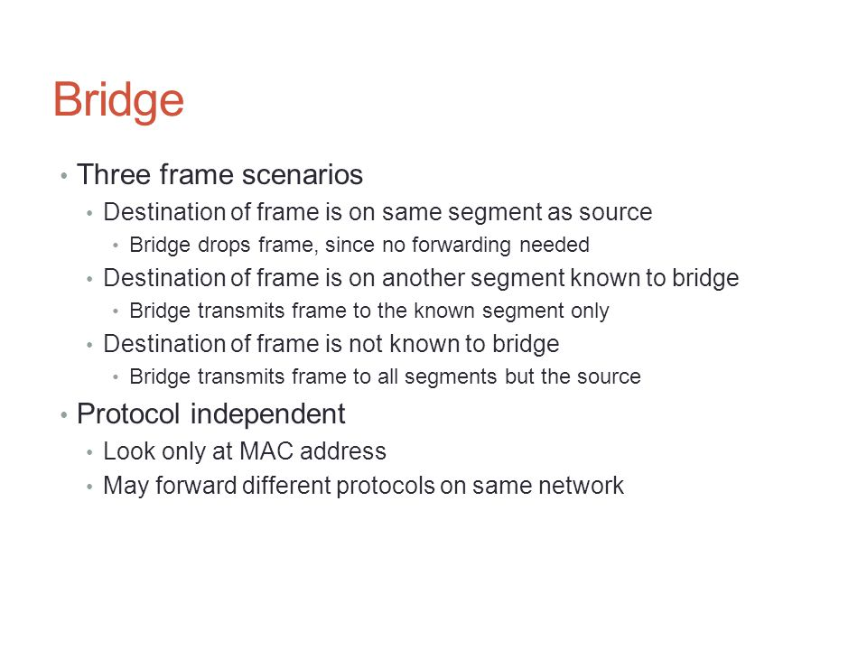 Bridge Three frame scenarios Protocol independent