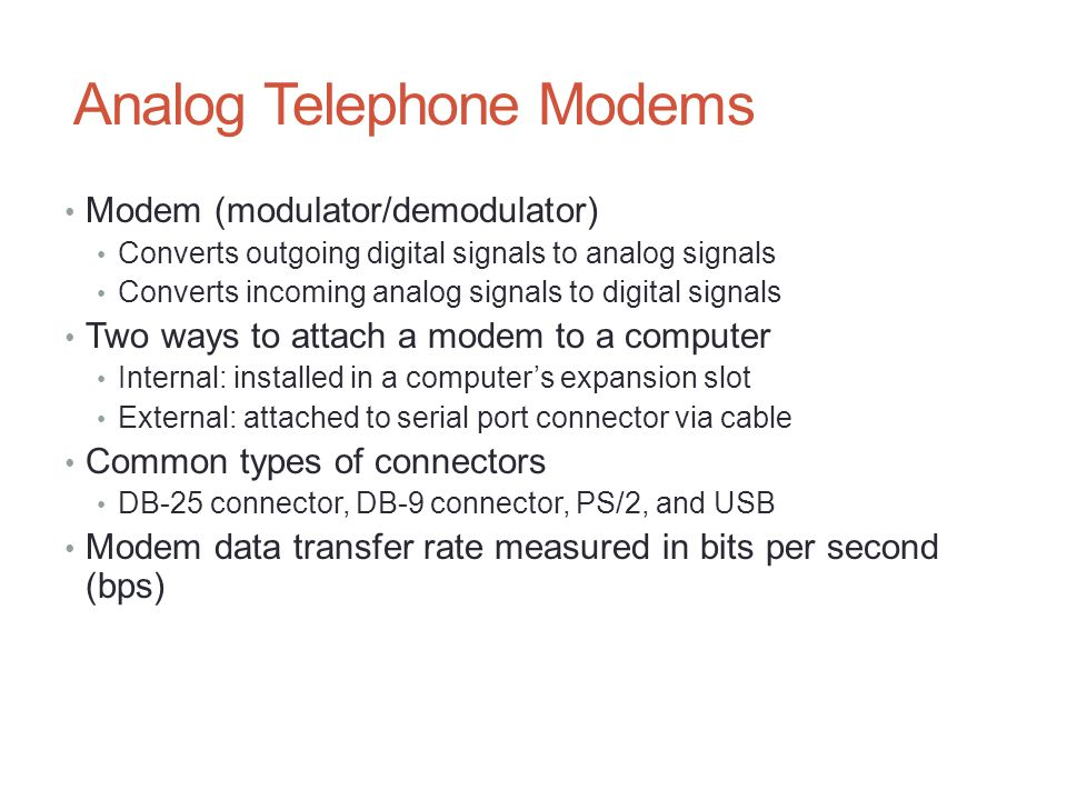 Analog Telephone Modems