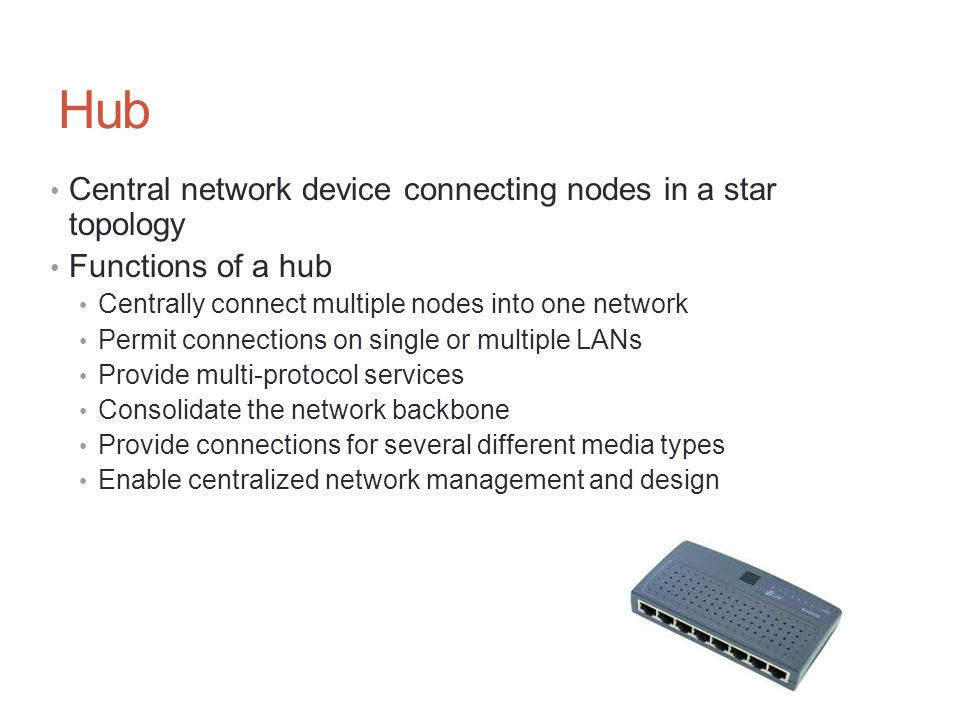 Hub Central network device connecting nodes in a star topology