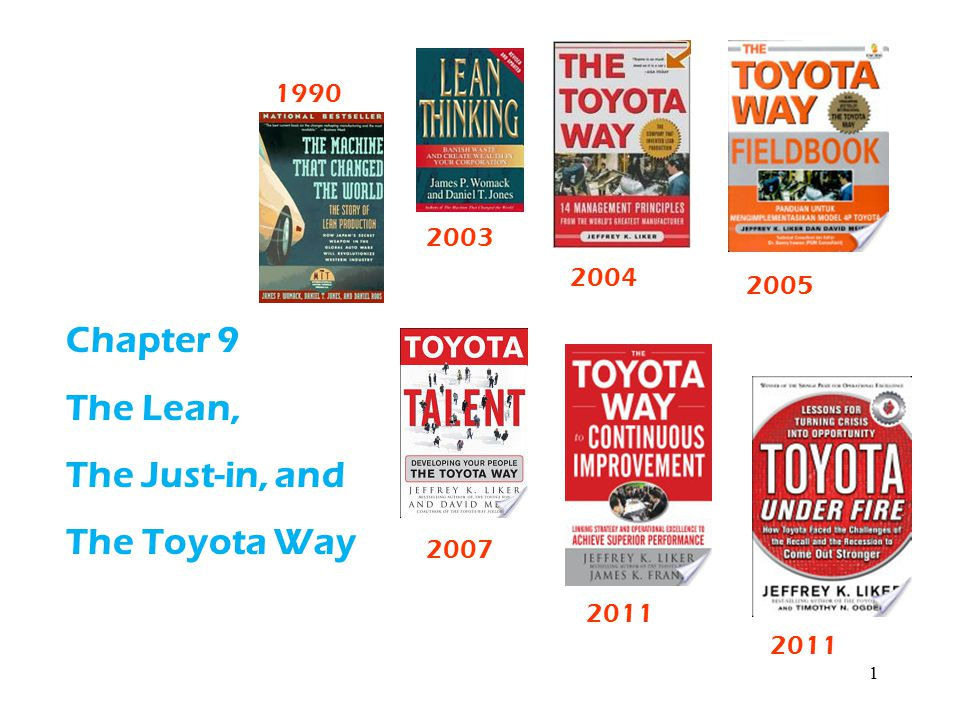 Chapter 9 The Lean, The Just-in, and The Toyota Way 1990 2003 2004