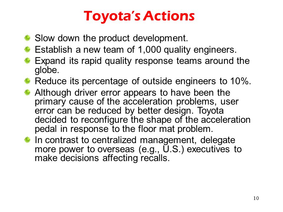 Toyota's Actions Slow down the product development.