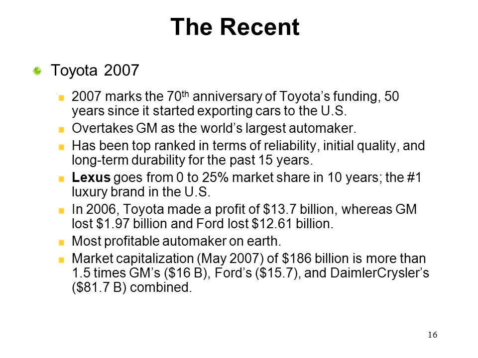 The Recent Toyota 2007. 2007 marks the 70th anniversary of Toyota's funding, 50 years since it started exporting cars to the U.S.