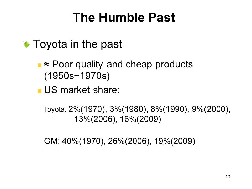 The Humble Past Toyota in the past