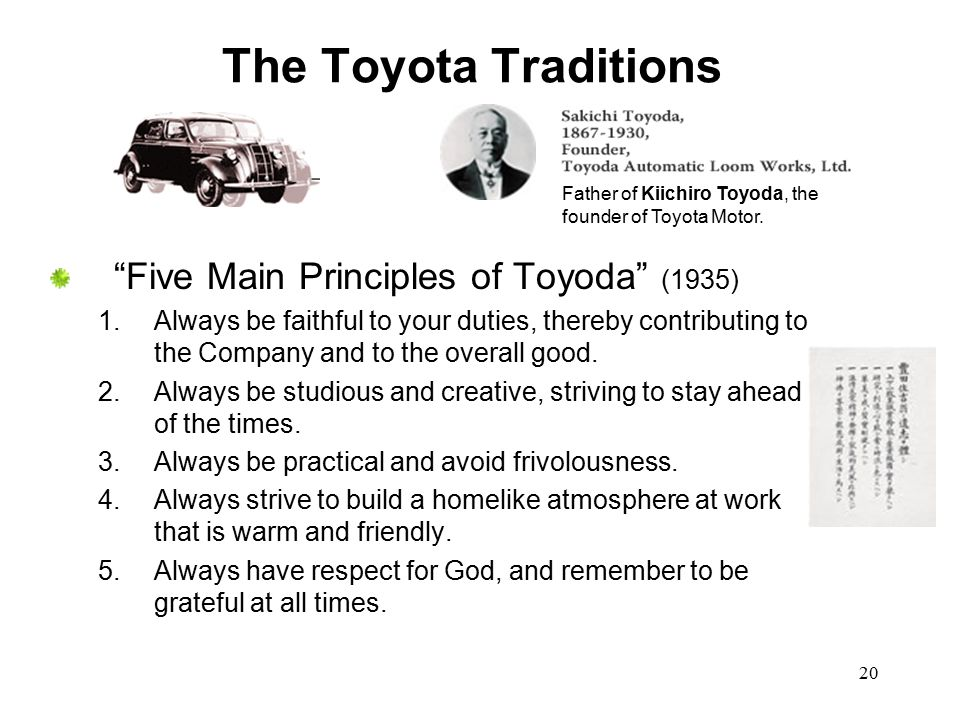 The Toyota Traditions Five Main Principles of Toyoda (1935)